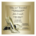 Elegant Black Gold High Heel Birthday Party Card