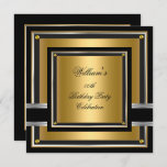 Elegant Black Gold Silver Birthday Party Mens boys Invitation