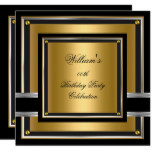 Elegant Black Gold Silver Birthday Party Mens Mans Card