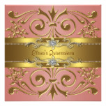 Elegant Coral and Gold Birthday Party Card