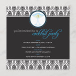 Elegant Damask Cocktail Party Invitation (blue)