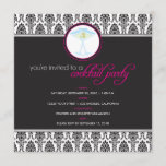Elegant Damask Cocktail Party Invitation (fuschia)
