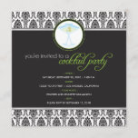 Elegant Damask Cocktail Party Invitation (lime)