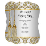 Elegant Damask Gold Silver White Birthday Party Invitation