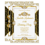 Elegant Damask Gold White Diamond Birthday Party Invitation