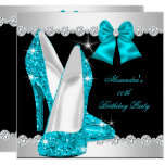 Elegant Glitter Teal Blue High Heels Birthday Invitation