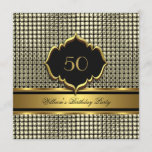 Elegant Gold Black Birthday Party Mens Man Invitation