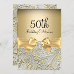Elegant Gold Bow Floral Swirl 50th Birthday Party Invitation