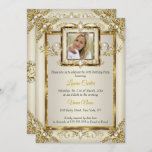Elegant Gold Cream Pearl Damask Photo Birthday Invitation