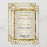 Elegant Gold Cream Pearl Photo Birthday Party Invitation
