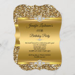 Elegant Gold Glitter Diamond Birthday Party Invitation