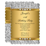 Elegant Gold Glitter Silver Diamond Birthday Party Invitation