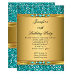 Elegant Gold Teal Glitter Diamond Birthday Party Invitation