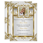 Elegant Gold White Pearl Damask Photo Birthday 4a Invitation