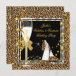 Elegant Leopard Black Silver Gold Birthday Party Invitation