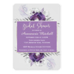 Elegant Purple and Grey Floral Bridal Shower Card
