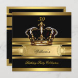 Elegant Royal Black Gold Birthday Prince King 2 Invitation