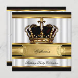 Elegant Royal Black Gold Birthday Prince King 2B Invitation