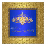 Elegant Royal Blue and Gold Quinceanera Invitation