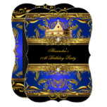 Elegant Royal Blue Black King Queen Birthday Party Card