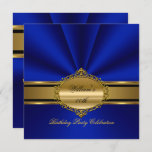 Elegant Royal Blue Gold Birthday Party Mens Mans Invitation