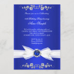 Elegant Royal Blue White Pearl Jewel Bow Birthday Invitation