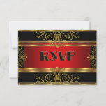 Elegant RSVP Red Black Gold Art Deco