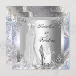 Elegant Silver White High Heel Shoe Fabulous 50 Invitation