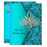 Elegant Teal Blue Aqua Glitter Birthday Party Invitation