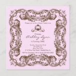 Elegant Vintage Princess Birthday Party Invitation