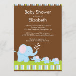 Elephants Triplets Baby Shower Boy Girl Invitation