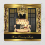 Elite Housewarming Party Chandelier Gold Chair Invitation