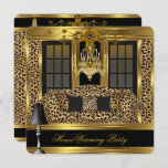 Elite Housewarming Party Chandelier Leopard Gold Invitation