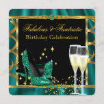 Emerald Green Gold Fabulous Heels Birthday Party 2 Invitation