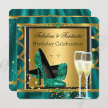 Emerald Green Gold Fabulous Heels Birthday Party 3 Invitation