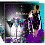 Fabulous 30 30th Birthday Teal Purple Roses Invitation