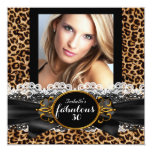 Fabulous 30 Gold Black Leopard Birthday Party Invitation