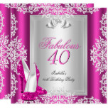 Fabulous 40 40th Birthday Party Hot Pink Shoes Card