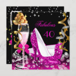 Fabulous 40 Hot Pink Gold Bubbles Glitter Party 2 Invitation