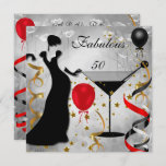 Fabulous 50 50th Birthday Party Deco Lady Red Invitation