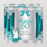 Fabulous 50 50th Birthday Party Teal Shoes Invitation