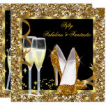 Fabulous 50 Fantastic Black Gold Birthday Party Invitation
