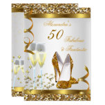 Fabulous 50 Fantastic Gold Heels Birthday Party Invitation