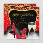 Fabulous 50 Party Red Gold Champagne Glitter Heels Invitation