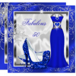 Fabulous 50 Party Royal Blue Silver Dress Heels S9 Card