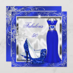 Fabulous 50 Party Royal Blue Silver Dress Heels S9 Invitation