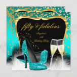 Fabulous 50 Party Teal Gold Champagne Glitter Heel Invitation