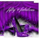 Fabulous 50 Purple High Heels 50th Birthday Party Card