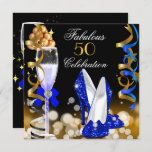 Fabulous 50 Royal Blue Black Gold Birthday Party Invitation