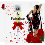 Fabulous 60 60th Birthday Party Red Roses White Card